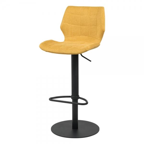 Tabouret réglable jaune vintage avec pied en métal noir - Indica - 15