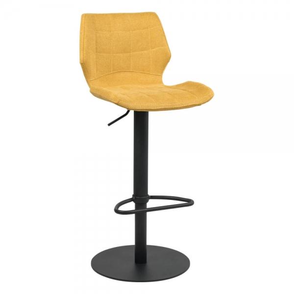 Tabouret réglable vintage avec pied en métal noir et assise jaune - Indica - 16