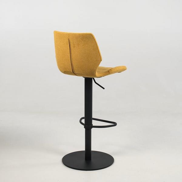 Tabouret réglable jaune rembourré avec pied en métal noir - Indica - 17