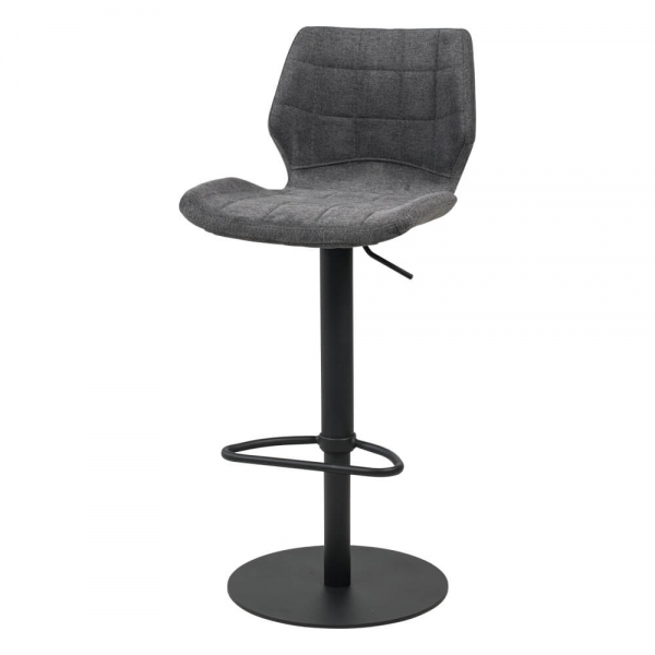 Tabouret réglable vintage avec pied en métal noir et assise rembourrée - Indica - 18