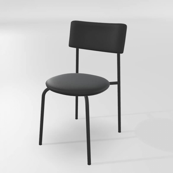 Chaise en synthétique noire  - 12