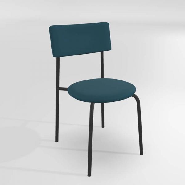 Chaise en synthétique bleue avec pieds métal - 21