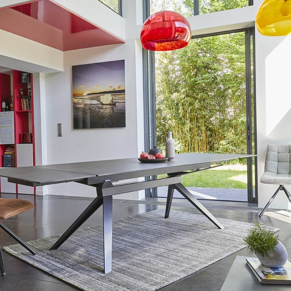 Table de salle à manger design en céramique avec allonges - Luna - 4
