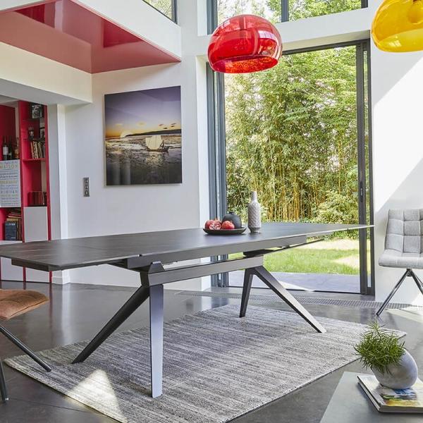 Table de salle à manger design en céramique avec allonges - Luna - 6