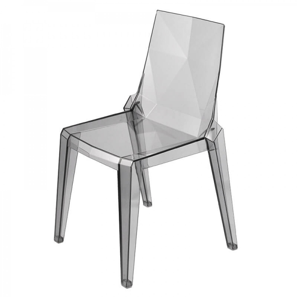 Chaise transparente fumée empilable fabrication italienne - Ice - 2