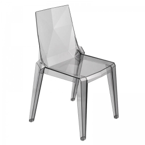 Chaise en polycarbonate fumé transparent empilable fabrication italienne - Ice