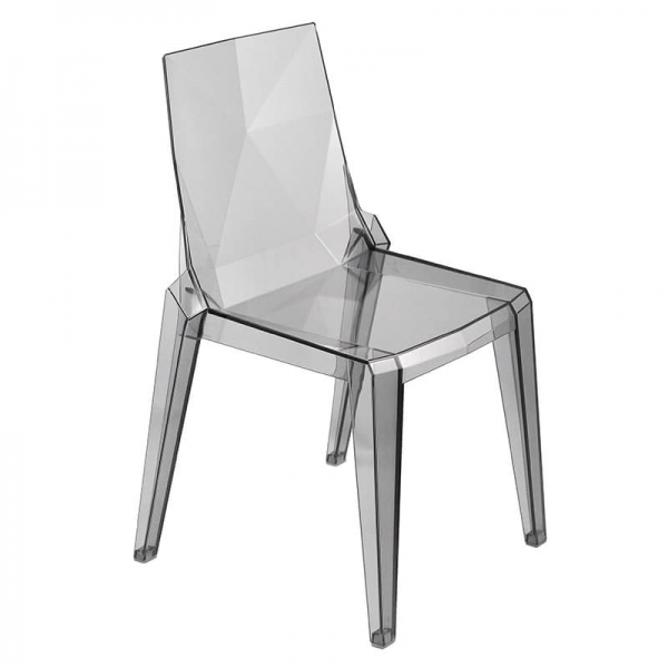 Chaise en polycarbonate fumé transparent empilable fabrication italienne - Ice - 1