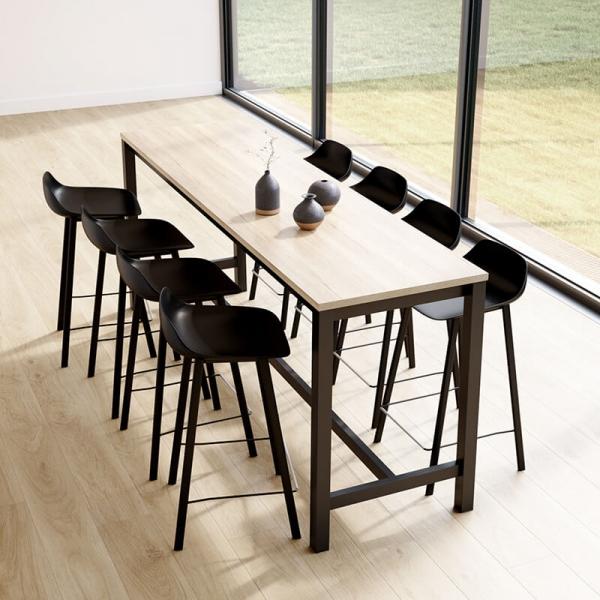 Table haute de cuisine hauteur 90 cm en stratifié et métal 220 x 60 cm - Vienna - 1