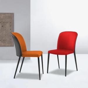 Chaise moderne en tissu bicolore avec pieds métal - Julie
