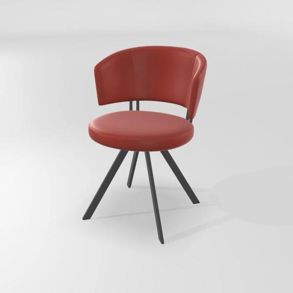Chaise de salle à manger tendance rouge  - 19