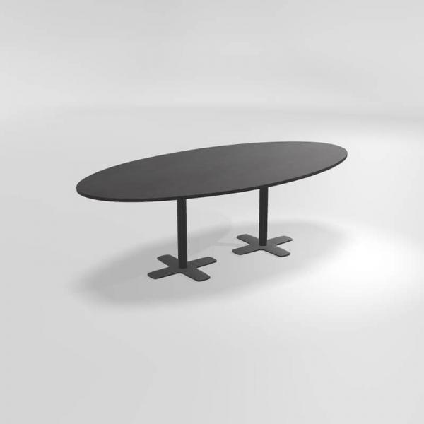 Table ovale en stratifié avec deux pieds - Spinner 2 - 1