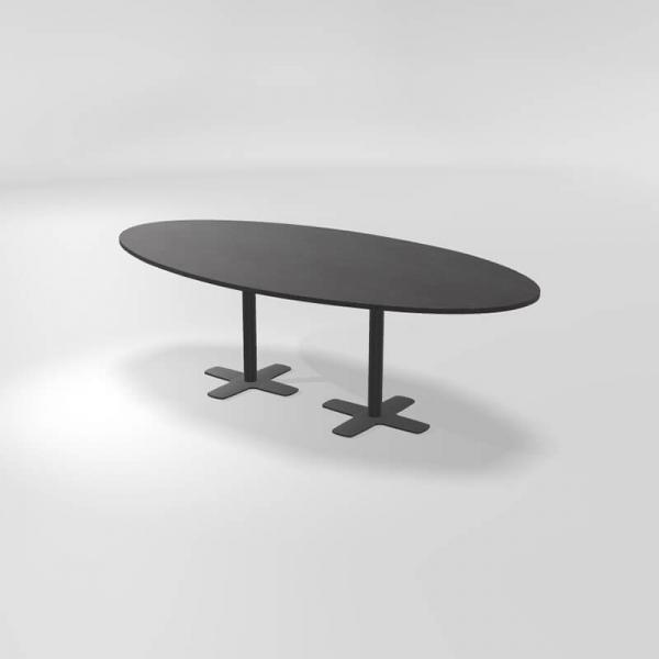 Table ovale en stratifié avec deux pieds - Spinner 2 - 2