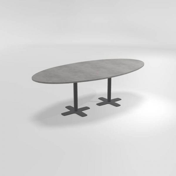 Table ovale en stratifié avec deux pieds - Spinner 2 - 3
