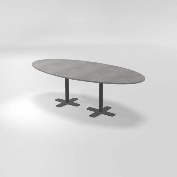 Table ovale en stratifié avec deux pieds - Spinner 2 - 4