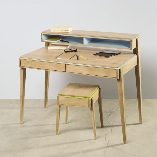 Bureau en bois avec rangements made in France - 1