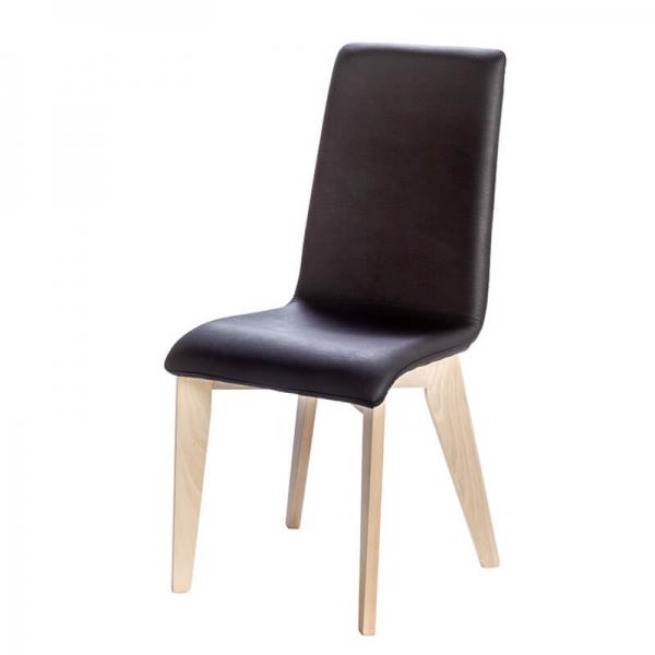 Chaise avec assise synthétique noire et pieds bois française - Yam Eco - 6