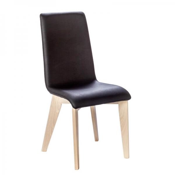 Chaise fabrication française noire en synthétique et pieds bois - Yam Eco - 5