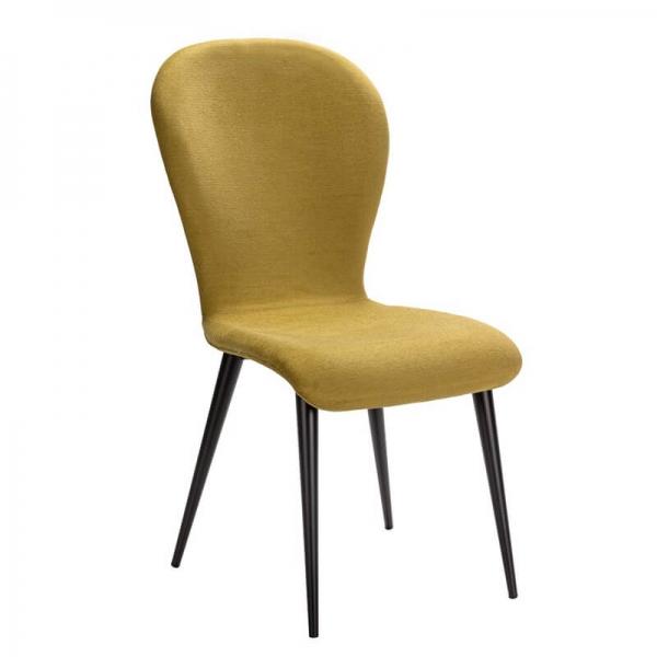 Chaise française en tissu vert et piétement métal - Lila Eco - 1
