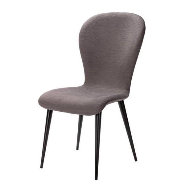 Chaise grise made in France revêtement tissu et pieds métal - Lila Eco - 6