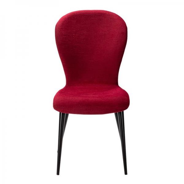 Chaise en tissu rouge avec pieds en métal fabrication France - Lila Eco - 9