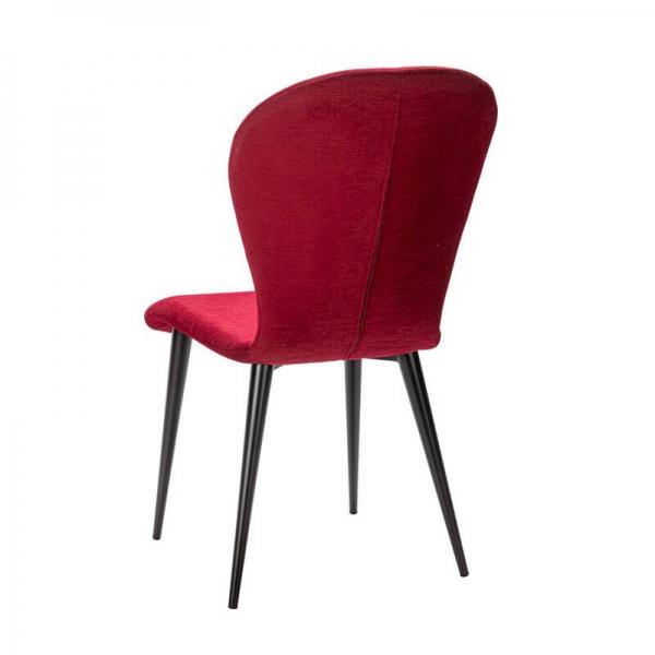 Chaise rouge en tissu et piétement métal made in France - Lila Eco - 12