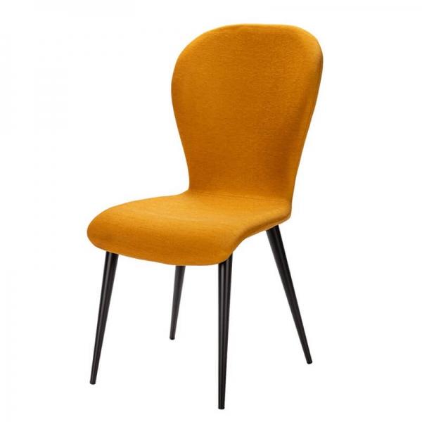 Chaise française en tissu moutarde et pieds métal - Lila Eco - 14