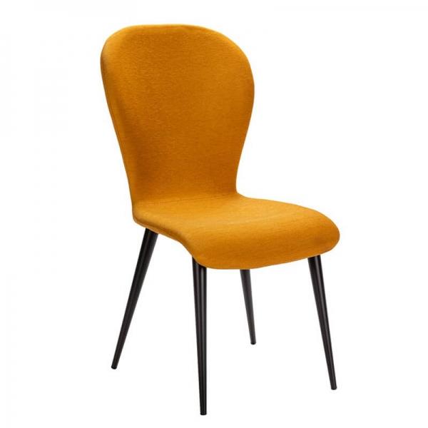 Chaise jaune en tissu et pieds métal made in France - Lila Eco - 15
