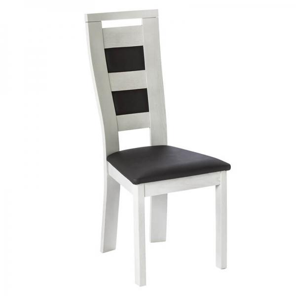 Chaise française revêtement synthétique et bois massif - Lize - 1
