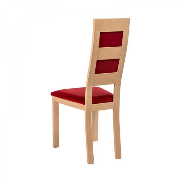 Chaise française contemporaine en bois avec assise tissu rouge - Zara - 2