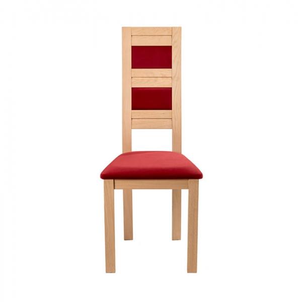 Chaise française rouge en bois et tissu avec dossier haut - Zara - 4