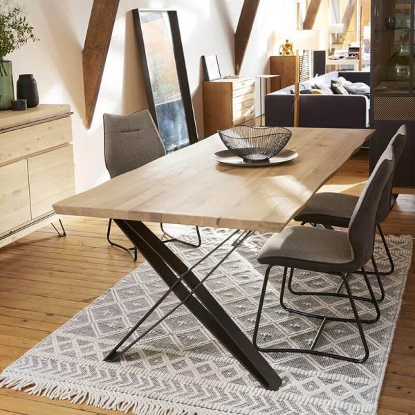 Table design style industriel pieds en X - Fusion - 1