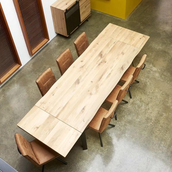 Table design style industriel avec allonges pieds en épingle - Fusion - 3