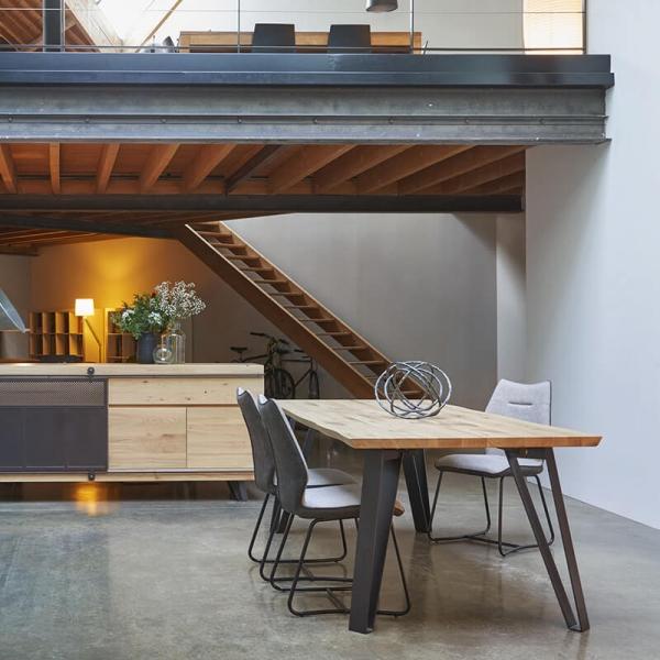 Table design style industriel extensible pieds en épingle - Fusion - 1