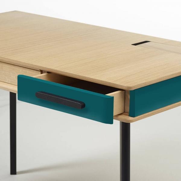 Bureau made in France en bois avec tiroirs - 2