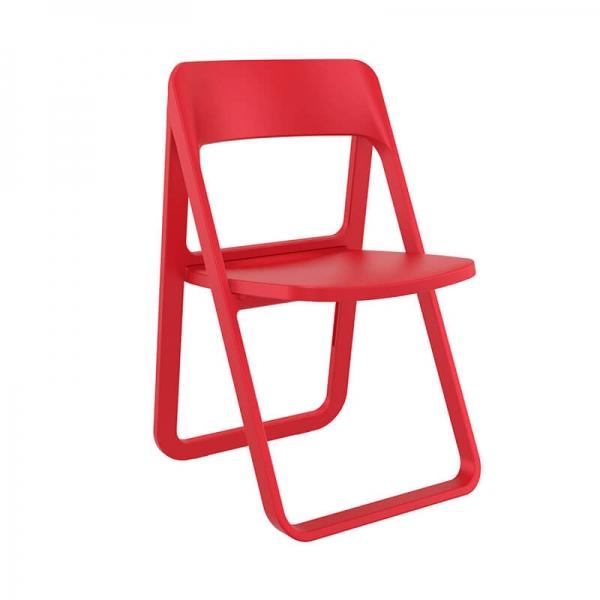 Chaise moderne pliante en plastique rouge - Dream - 15