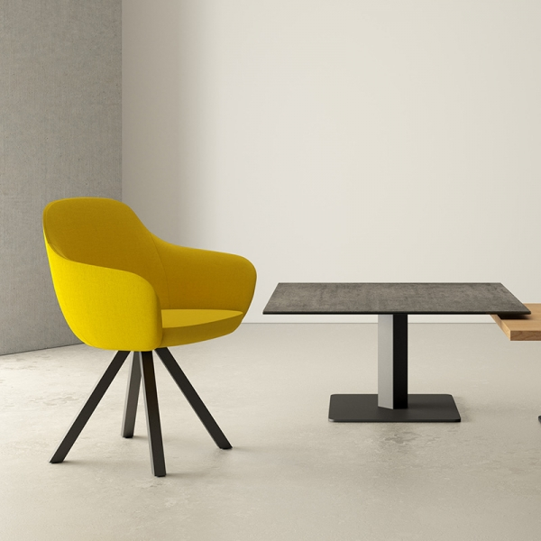 Table basse carrée en céramique avec pied central - Ibero mini - 1