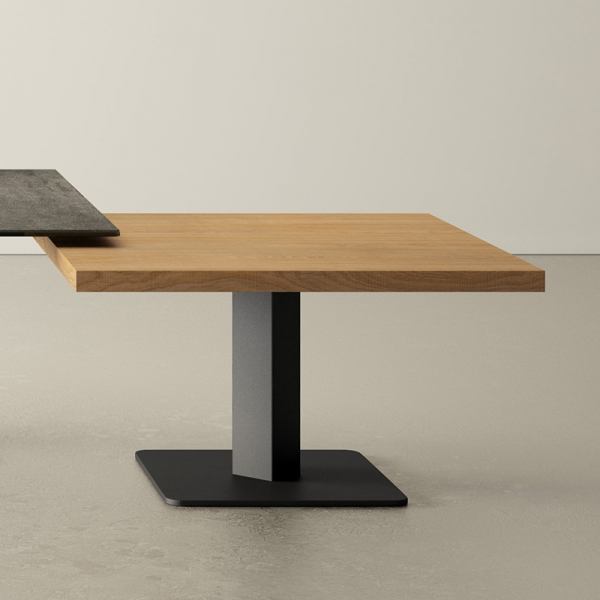 table basse carrée en stratifié et métal ibero mini  - 1