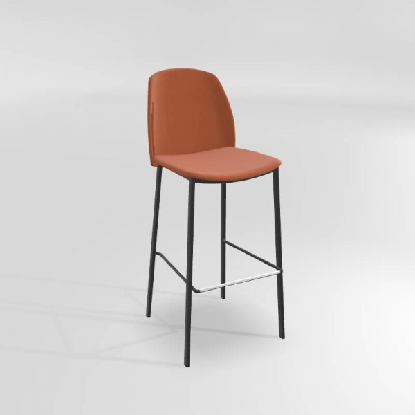 Tabouret de bar en tissu et métal orange - 5