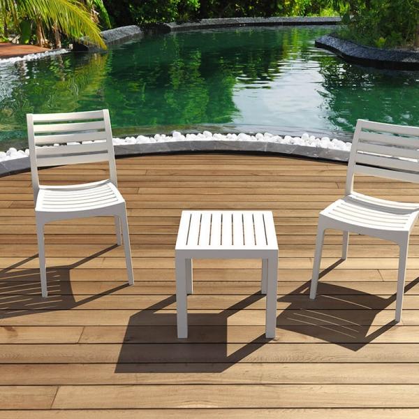 Table de terrasse carrée en résine blanche - 11
