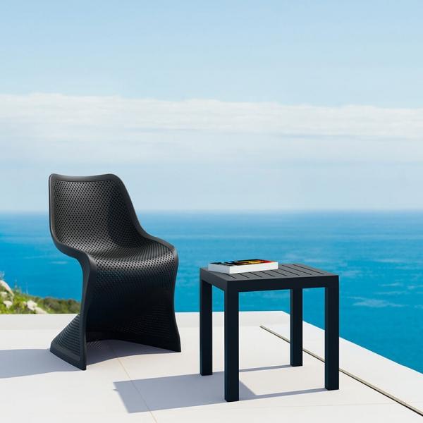 Table d'appoint carrée en résine noire pour jardin - 1