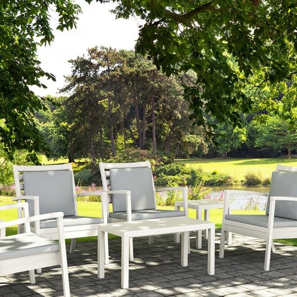 Table de jardin rectangulaire en résine blanche - 5