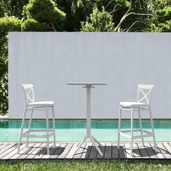 Tabouret de jardin blanc avec dossier - 1