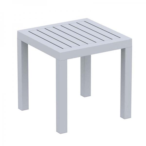 Table d'appoint carrée en plastique gris clair - 16
