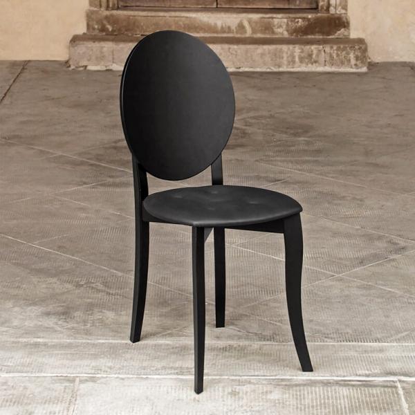 Chaise design italienne style médaillon noire - Antonietta - 1