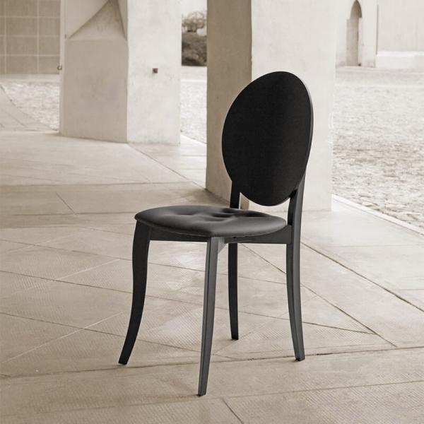 Chaise médaillon moderne italienne noire - Antonietta - 3