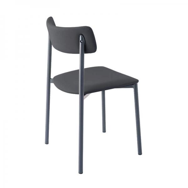chaise pied métal gris rembourrée - 8