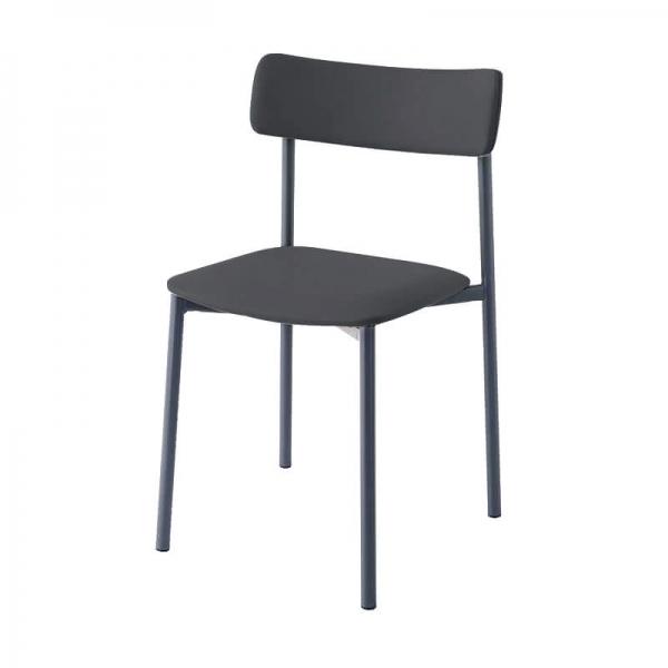 chaise grise rembourrée pieds métal - 7