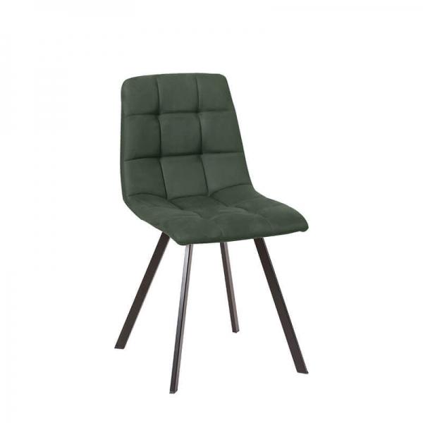Chaise matelassée verte avec pieds en métal noir  - Carvi - 10