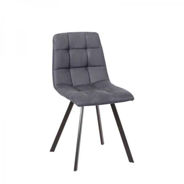 Chaise matelassée en tissu gris clair rembourrée avec pieds en métal noir - Carvi - 2