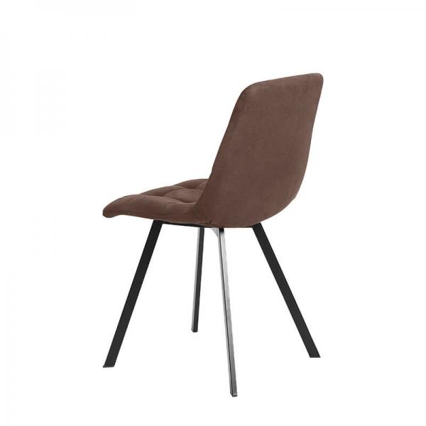 Chaise de salle à manger confortable matelassée en tissu marron - Carvi - 22